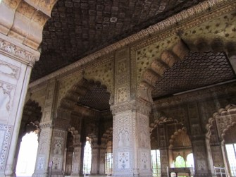 Pretty wall carvings and painting in the Red fort