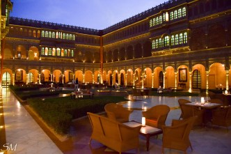 Central courtyard at night