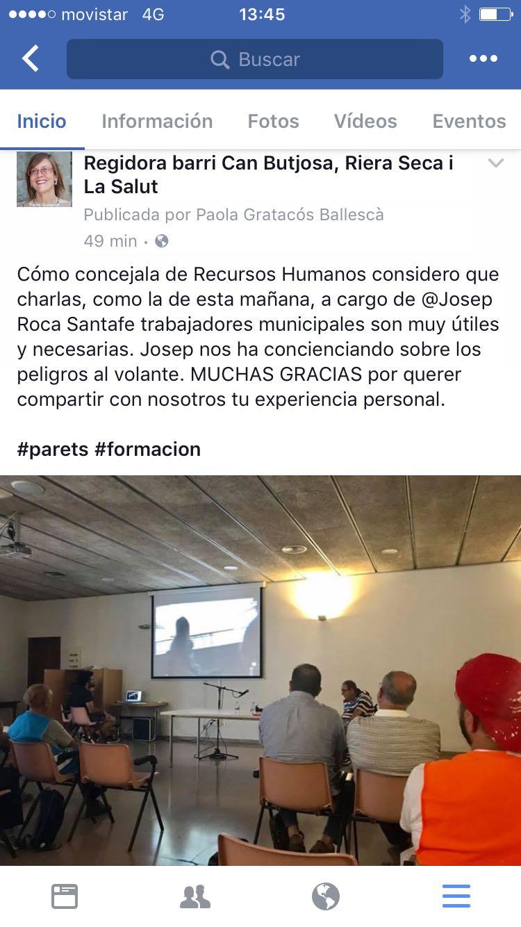 Feedback público por parte de Paola Gratacós, Concejala de RRHH del Ayuntamiento de Parets del Vallés.