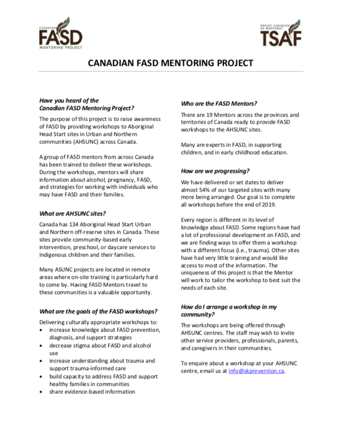 CANADIAN FASD MENTORING PROJECT