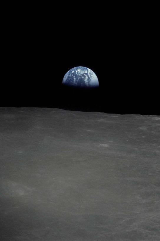 The first view of Earth from the moon