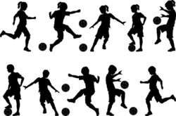 Soccer Silhouettes Kids Boys and Girls stock vector