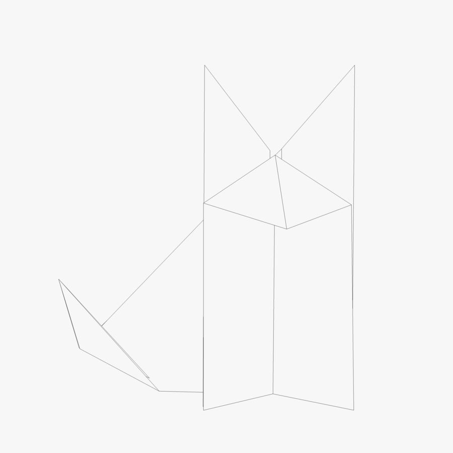 medium resolution of origami fox royalty free 3d model preview no 2