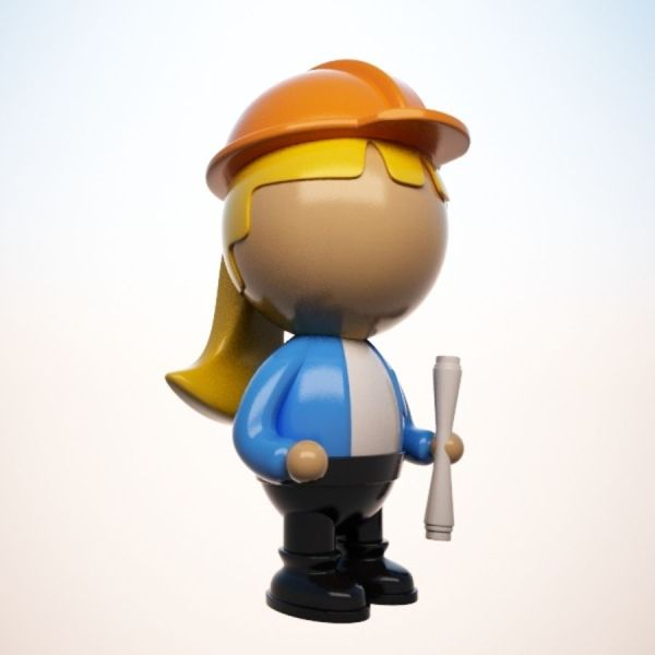 Cartoon Engineer Character Female 3d Model 15