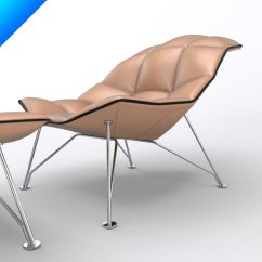 Jehs Laub Lounge Chair Modern Desk And Ottoman Wire Base Articulateing Back 3d Royalty Free