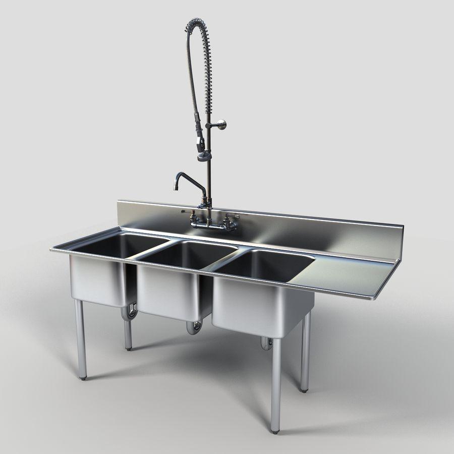 commercial triple sink 3d model 59