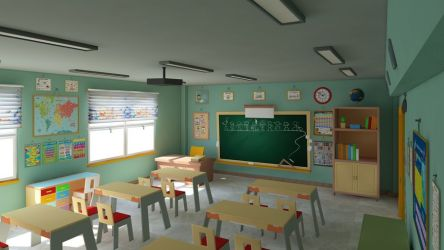 Cartoon Classroom 3D Model 3D Model $23 c4d max obj unknown fbx dae 3ds Free3D