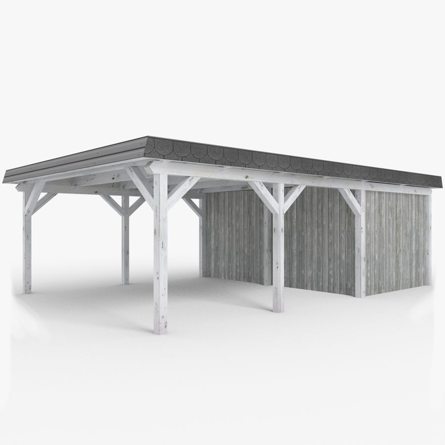 Wooden Carport With Shed Lowpoly 3d Model 19 Blend Obj Fbx