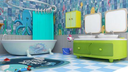 Bathroom cartoon Low poly 3D Model $20 fbx Free3D