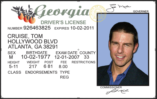 Georgia driving licence psd template