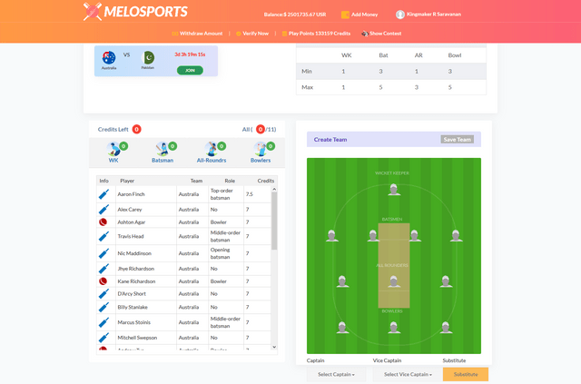MeloSports - Fantasy Cricket Laravel Software