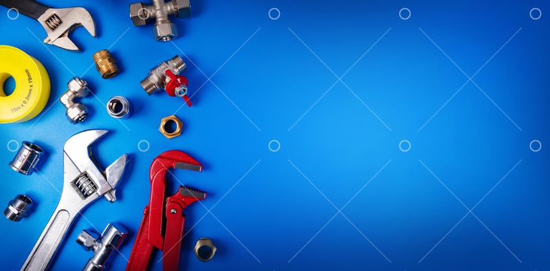 Plumbing Tools And Fittings On Blue Background With Copy Space Image Stock By Pixlr