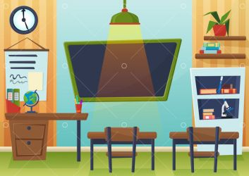 Vector cartoon illustration of empty school classroom with chalkboard and desks Graphic Vector Stock by Pixlr