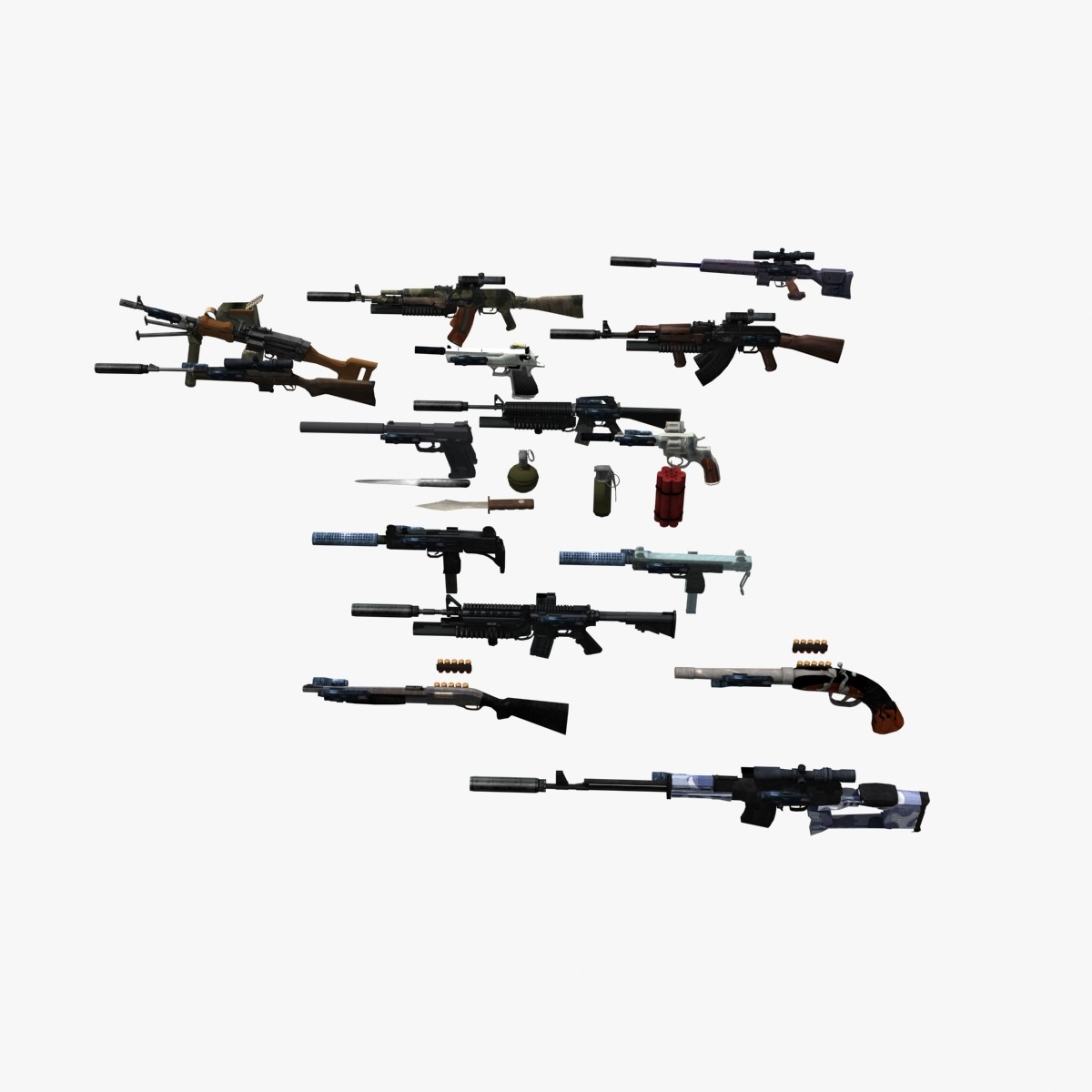 3d Guns Pack Weapons