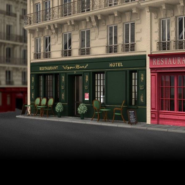 France Restaurant Hotel Facade 3d Model