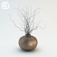 3d vase dry sticks