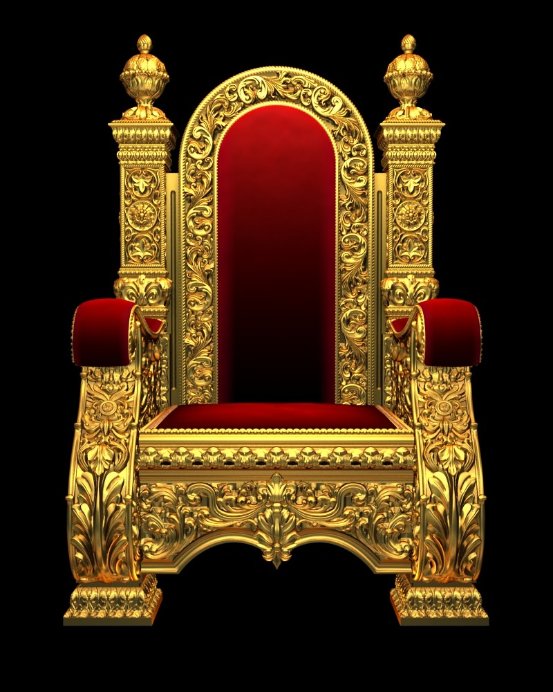 King With Crown On Throne