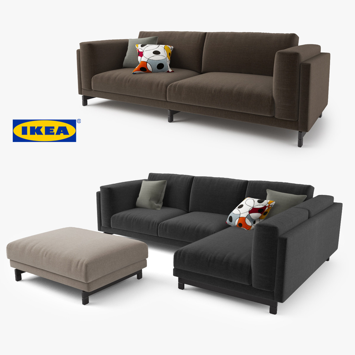 Ikea Sofa Nockeby Test 3d Model Ikea Nockeby Series Sofa