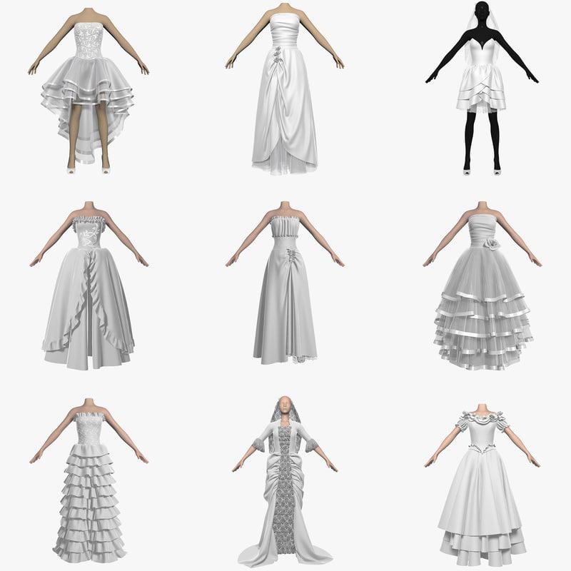 dresses wedding 3d 3ds