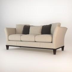 Baker Track Arm Sofa Grey Mustard Cushions Flared 3d Model