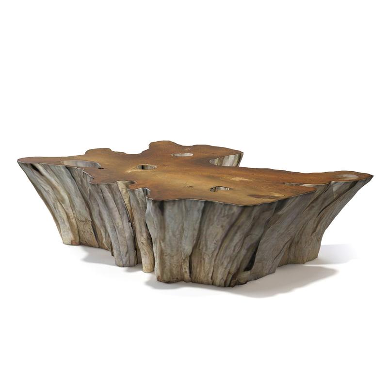 3d teak root coffee table
