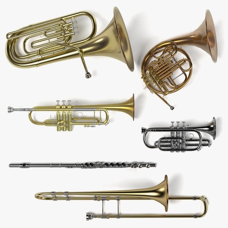 3d 3ds brass musical instruments