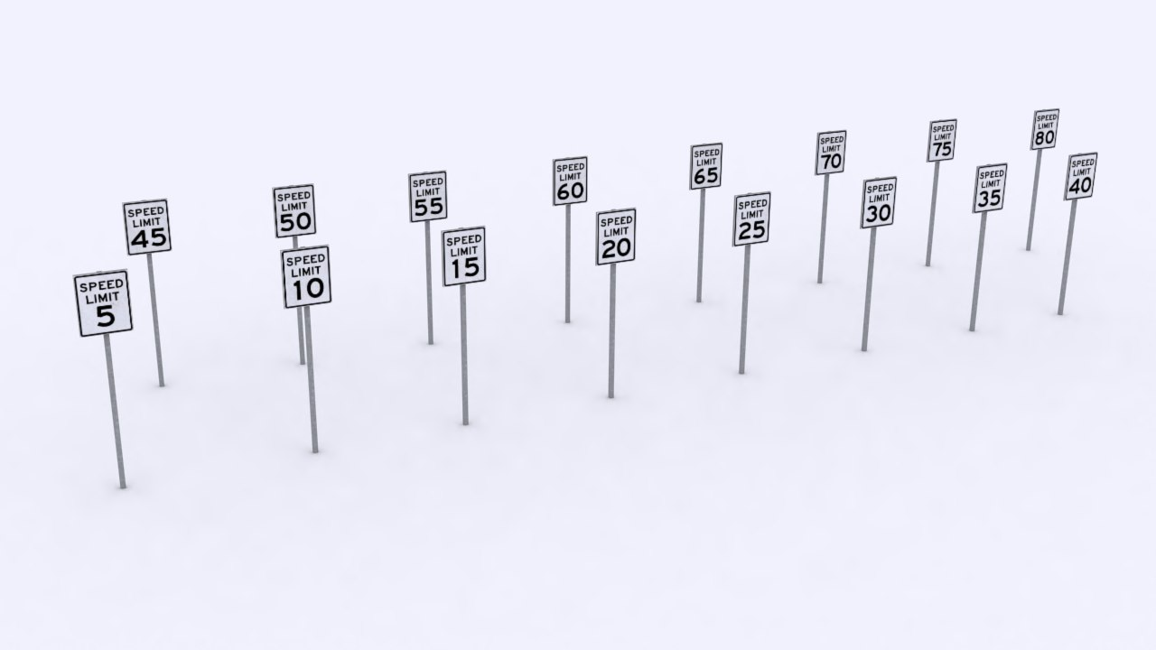 speed limit signs 3d model