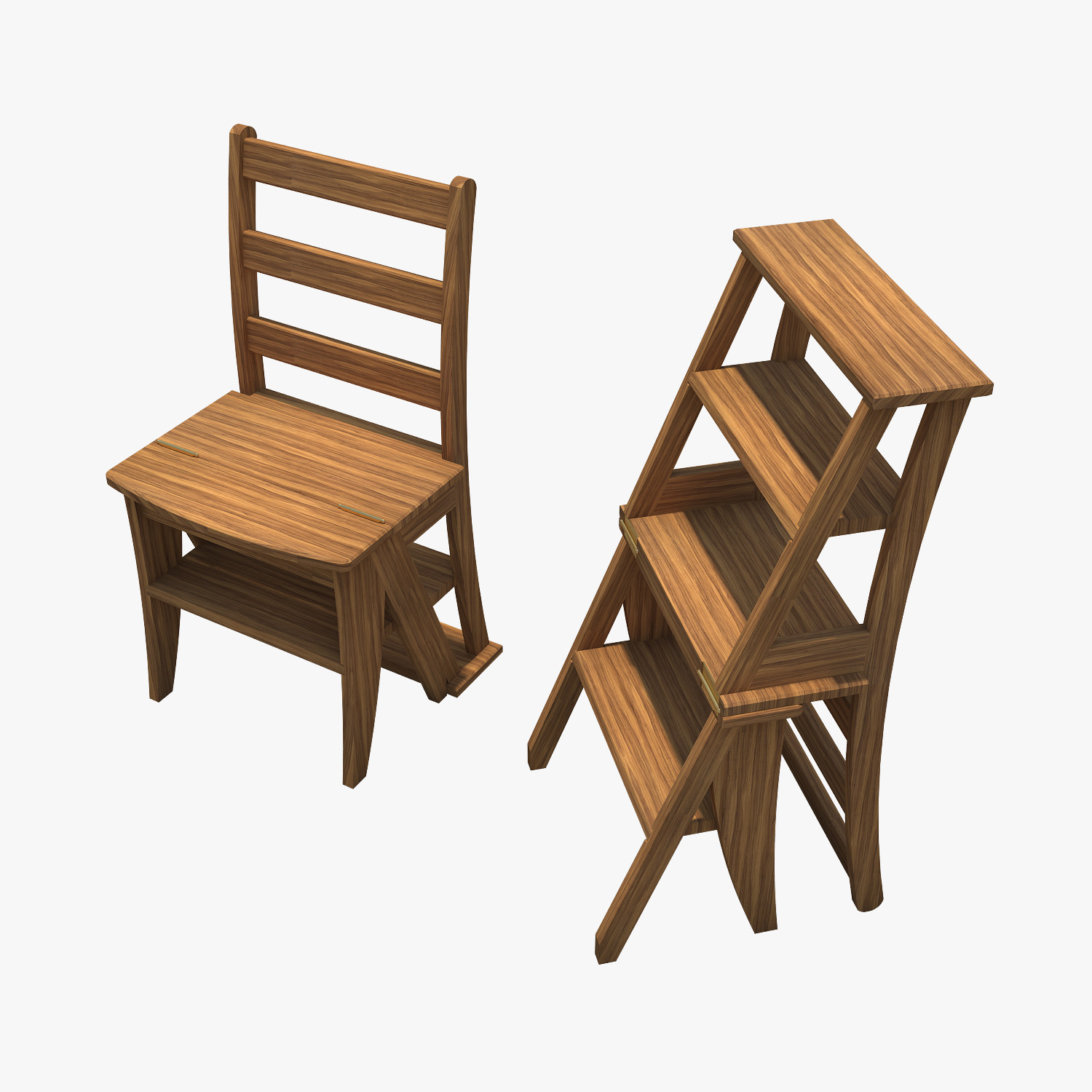 Library Ladder Chair Library Chair Stool 3d Model