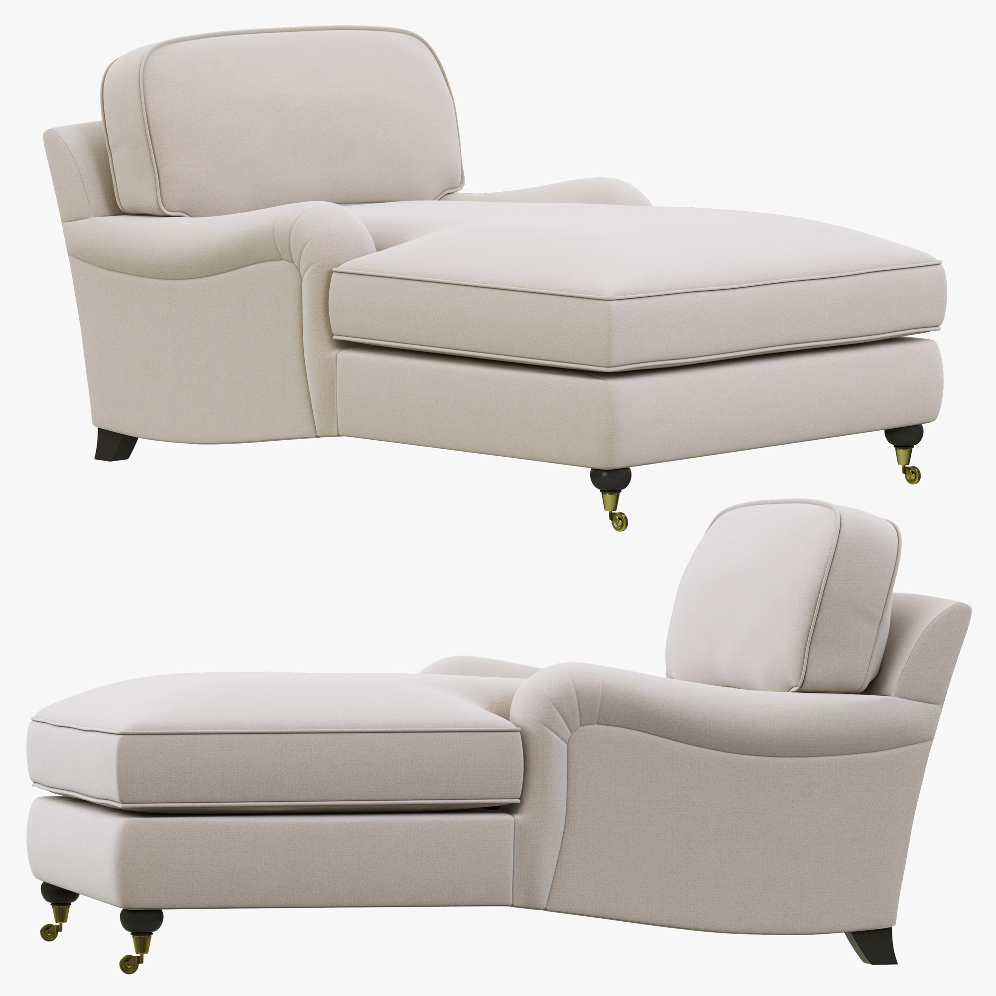 rolled arm sofa chaise convertible bed cozy sectional sofas restoration hardware english roll 3d model