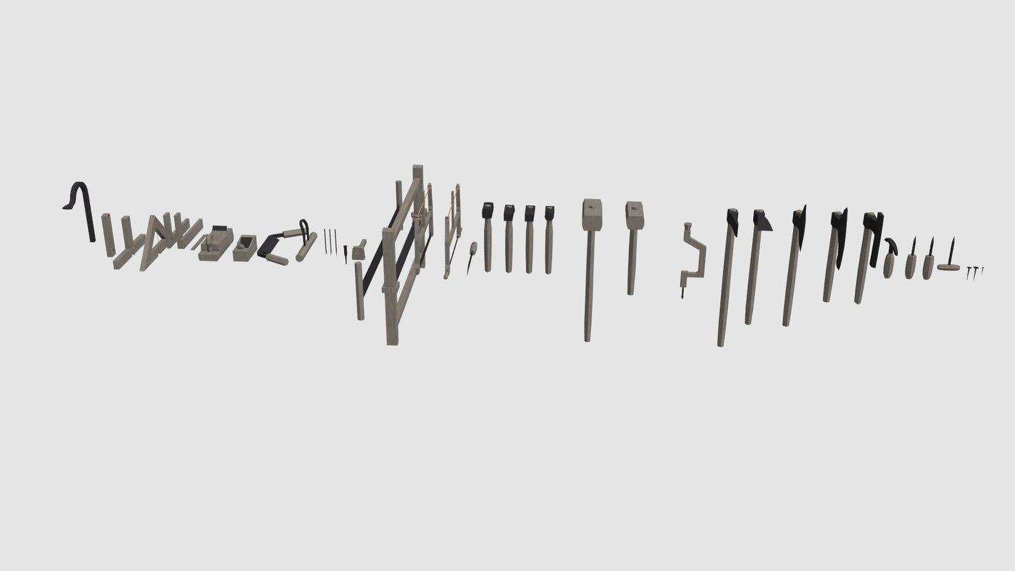 3d model medieval carpentry tools