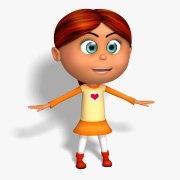 cartoon kid girl red hair 3d model