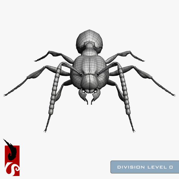 3d model red ant solenopsis