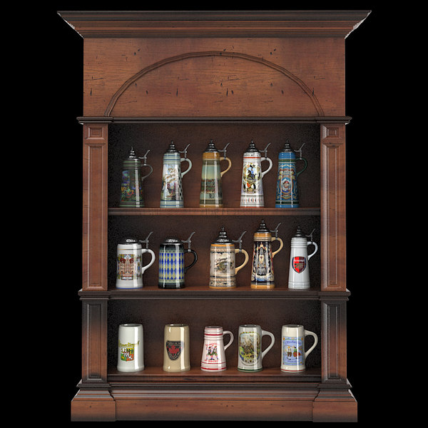 3d beer stein display cabinet model