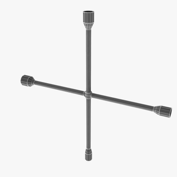 cross wheel spanner 3d model