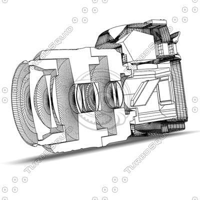 3ds max sliced dslr camera lens