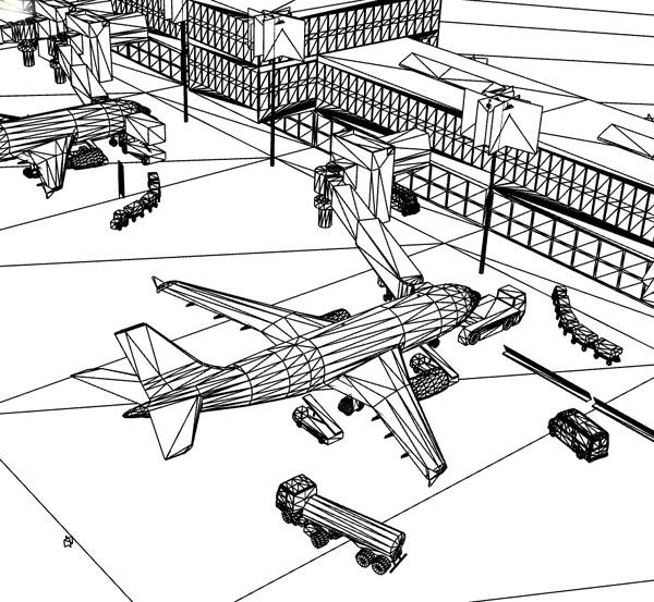 airport night scene air 3d max
