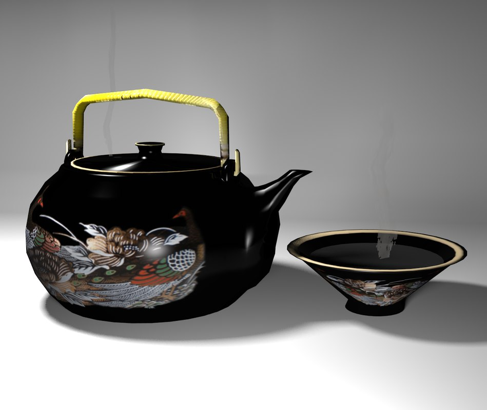 Oriental Teapot with Cup, Textured 3D Model Render