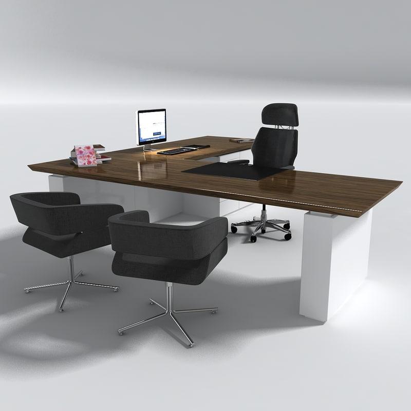 manager office desk table set 3d model