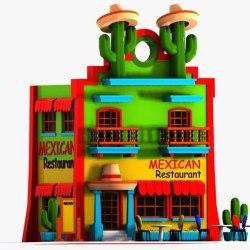 cartoon restaurant mexican max 3ds building turbosquid food fast
