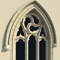 3d obj small arched gothic window