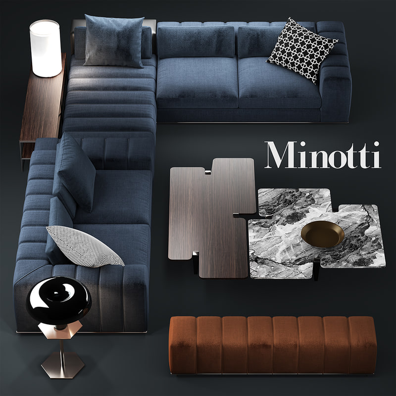 settee sofa couch modern furniture sleeper 3d minotti freeman model