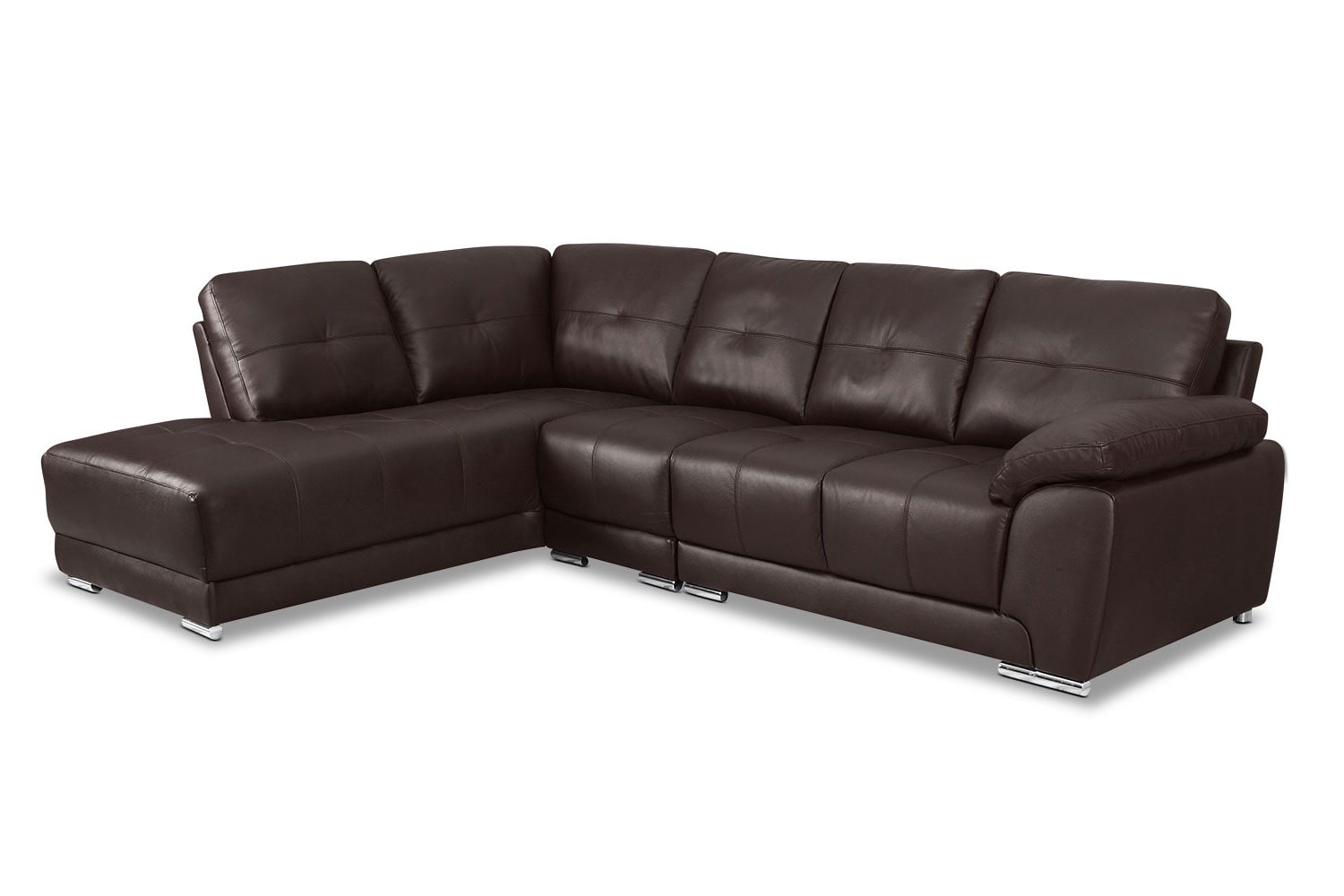 3 piece leather sectional sofa with chaise barcelona sofascore basketball rothwell left facing brown