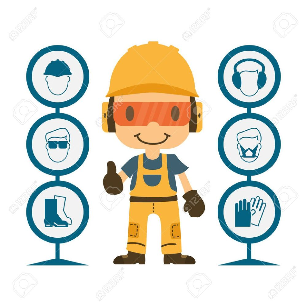medium resolution of construction worker repairman thumb up safety first health and safety warning signs vector