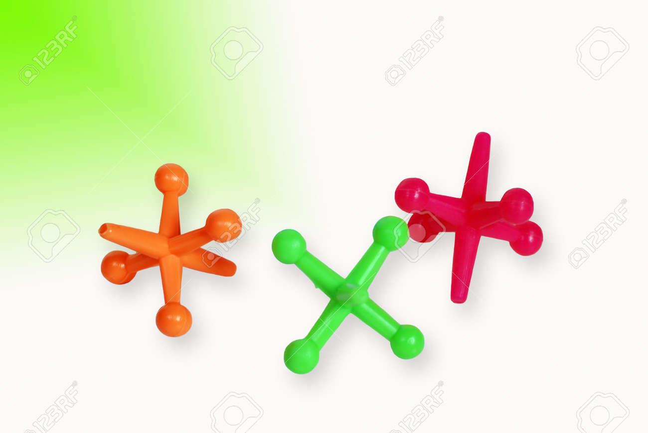 colorful toy jacks on