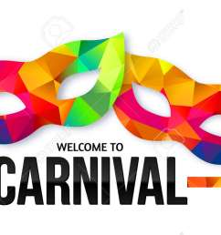 bright rainbow colors vector carnival masks with black sign welcome to carnival [ 1300 x 774 Pixel ]