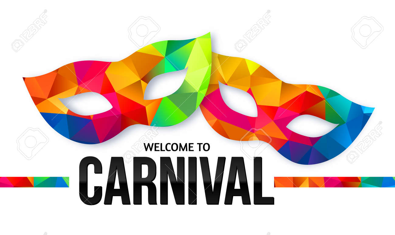 hight resolution of bright rainbow colors vector carnival masks with black sign welcome to carnival