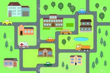 Cartoon Map Seamless Pattern roads Cars And Houses City Royalty Free Cliparts Vectors And Stock Illustration Image 107840457