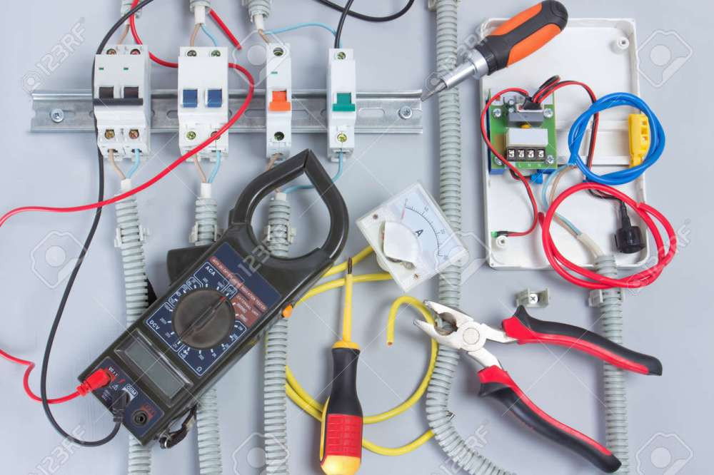 medium resolution of fuse box with automatic fuses during installation electricity distribution box stock photo 78354829