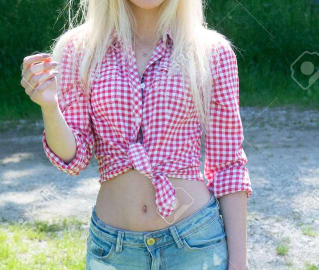 Stock Photo Young Blonde Woman In Park Cute Teenage Girl Outdoors Mild Retouch Vibrant Colors