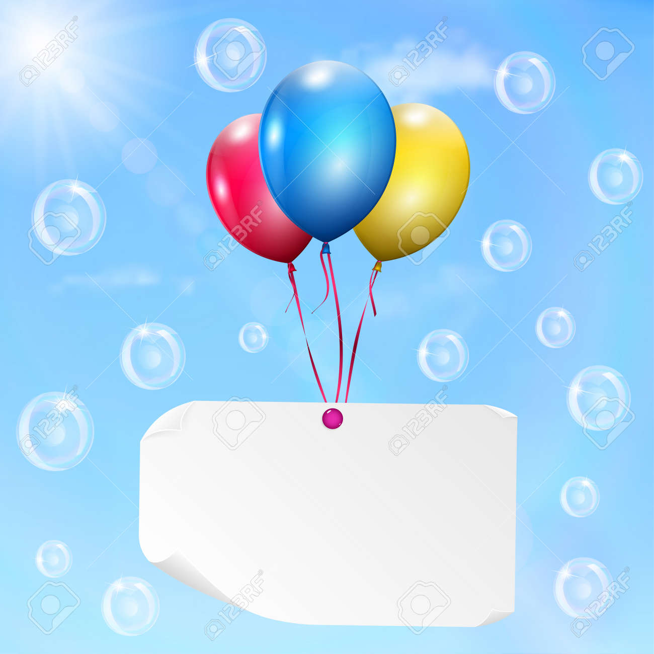 hight resolution of multicolored balloons with paper card on sky background with sun clouds and soap bubbles stockfoto